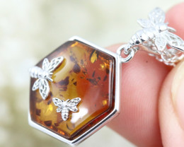 Natural Baltic Amber Sterling Silver Pendant code GI 1088
