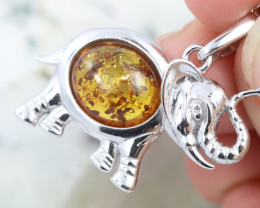Natural Baltic Amber Sterling Silver Pendant code GI 1090