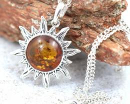 Natural Baltic Amber Sterling Silver Pendant code GI 1095