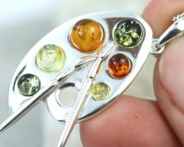 Natural Baltic Amber Sterling Silver Pendant code GI 1114