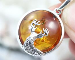 Natural Baltic Amber Sterling Silver Pendant code GI 1150