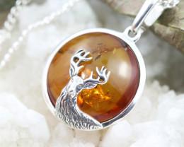 Natural Baltic Amber Sterling Silver Pendant code GI 1152