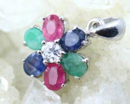 Beautiful Natural emerald, Ruby & Sapphire Pendant  code CCC 1776