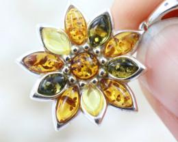 Natural Baltic Amber Sterling Silver Pendant code GI 1201