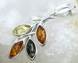 Natural Baltic Amber Sterling Silver Pendant code GI 1276