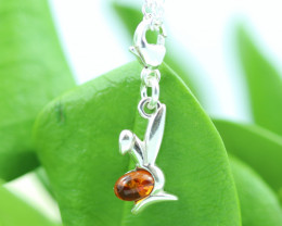 Natural Baltic Amber Sterling Silver Charm code GI 1331