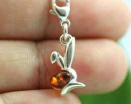Natural Baltic Amber Sterling Silver Charm code GI 1334