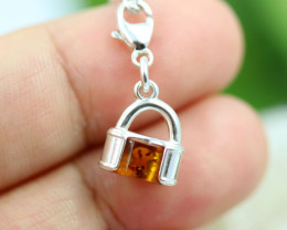 Natural Baltic Amber Sterling Silver Charm code GI 1348