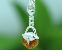 Natural Baltic Amber Sterling Silver Charm code GI 1355