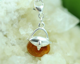Natural Baltic Amber Sterling Silver Charm code GI 1356