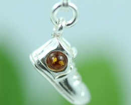 Natural Baltic Amber Sterling Silver Charm code GI 1373