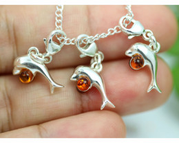 Natural Baltic Amber Sterling Silver Charm  (Set of 3) code GI 1386