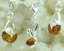 Natural Baltic Amber Sterling Silver Charm  (Set of 3) code GI 1387