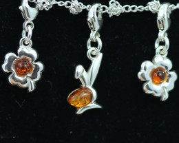 Natural Baltic Amber Sterling Silver Charm  (Set of 3) code GI 1390