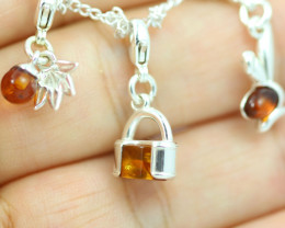 Natural Baltic Amber Sterling Silver Charm  (Set of 3) code GI 1392