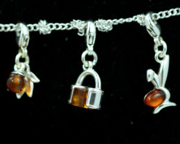 Natural Baltic Amber Sterling Silver Charm  (Set of 3) code GI 1393