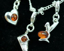 Natural Baltic Amber Sterling Silver Charm  (Set of 3) code GI 1396