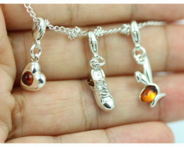Natural Baltic Amber Sterling Silver Charm  (Set of 3) code GI 1397