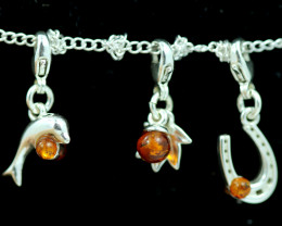 Natural Baltic Amber Sterling Silver Charm  (Set of 3) code GI 1400
