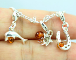 Natural Baltic Amber Sterling Silver Charm  (Set of 3) code GI 1401