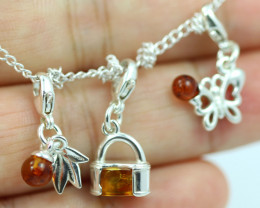 Natural Baltic Amber Sterling Silver Charm  (Set of 3) code GI 1404