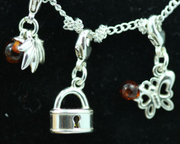 Natural Baltic Amber Sterling Silver Charm  (Set of 3) code GI 1405