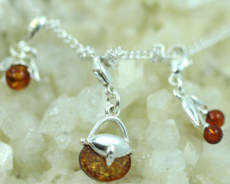 Natural Baltic Amber Sterling Silver Charm  (Set of 3) code GI 1408