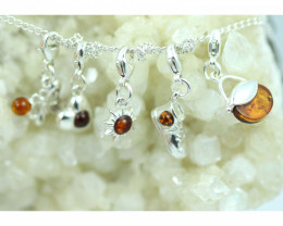 Natural Baltic Amber Sterling Silver Charm  (Set of 5) code GI 1412