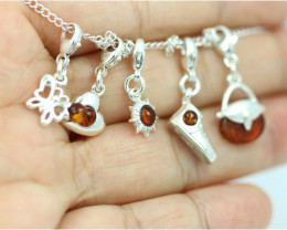 Natural Baltic Amber Sterling Silver Charm  (Set of 5) code GI 1413