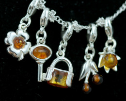 Natural Baltic Amber Sterling Silver Charm  (Set of 5) code GI 1415