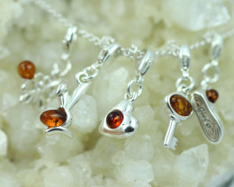Natural Baltic Amber Sterling Silver Charm  (Set of 5) code GI 1418