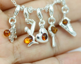 Natural Baltic Amber Sterling Silver Charm  (Set of 5) code GI 1419