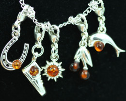 Natural Baltic Amber Sterling Silver Charm  (Set of 5) code GI 1422