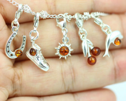 Natural Baltic Amber Sterling Silver Charm  (Set of 5) code GI 1423