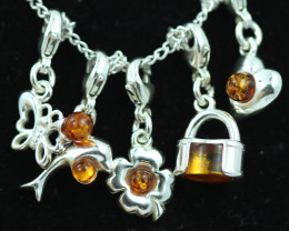 Natural Baltic Amber Sterling Silver Charm  (Set of 5) code GI 1426