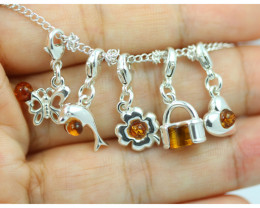 Natural Baltic Amber Sterling Silver Charm  (Set of 5) code GI 1427
