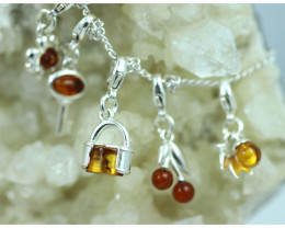 Natural Baltic Amber Sterling Silver Charm  (Set of 5) code GI 1430