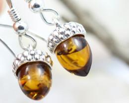 Natural Baltic Amber Earrings   code GI 1482