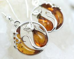 Natural Baltic Amber Earrings   code GI 1487