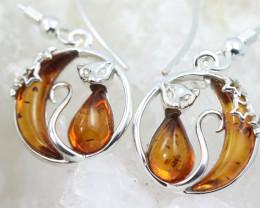Natural Baltic Amber Earrings   code GI 1489