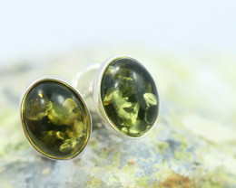 Natural Green Baltic Amber Earrings   code GI 1612