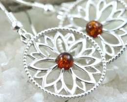 Natural Baltic Amber Earrings   code GI 1681