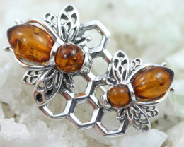 Natural Baltic Amber Sterling Silver Brooch   code GI 1750