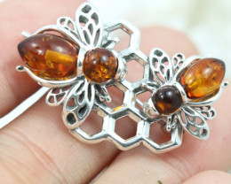 Natural Baltic Amber Sterling Silver Brooch   code GI 1751