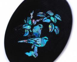 Mosiac Birds   Opal & Black jade  stone  CCC 1804