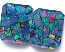 Pair rectangular shape  Opal Mosaic  triplet   CCC 1844