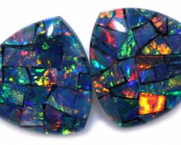 2.2 cts Pair Tri  Shape  Opal Mosaic Triplets   CCC 1873