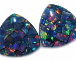 2.2 cts Pair Tri  Shape  Opal Mosaic Triplets   CCC 1874