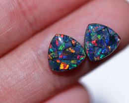 2.2 cts Pair Tri  Shape  Opal Mosaic Triplets   CCC 1876