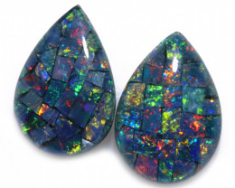 2.5 cts Pair Tear Drop  Shape  Opal Mosaic Triplets   CCC 1883